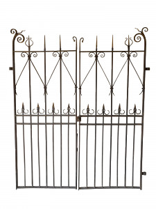 A pair of decorative wrought iron gates.