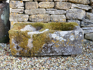 An antique limestone trough with good weathering and patination