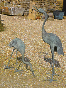 A pair of Japanese Meiji Period (1868 – 1912) bronze cranes