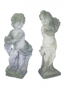 A pair of Italian stone Cherubs