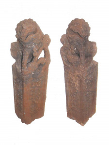 A pair of early 20th Century carved granite stone temple dogs