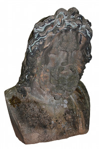 A large scale sandstone bust of Zeus