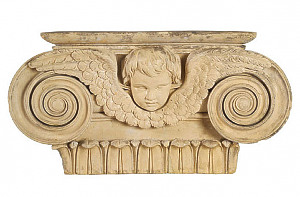 Ionic pilaster capital with cherub mask and wings