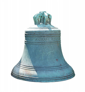 A bronze bell stamped 'G. Miears Founder Londom 1860' lacking clapper.