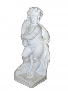 An early 20th century carved marble statue of a putto holding a wheat sheaf