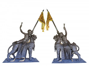 A fabulous pair of 19th century cast iron mythical beasts