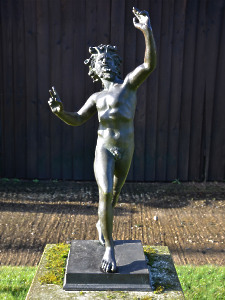 'The Dancing Faun' An early 20th century Neapolitan verdigris bronze