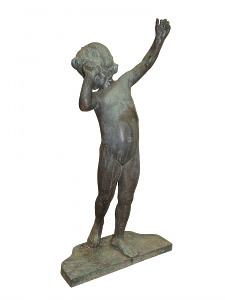 A bronze child with raised arm Enfant Aux Bras Leves