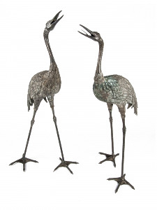 A pair of Japanese Meiji Period (1868 - 1912) Bronze Cranes