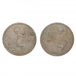 A pair of Allegorical roundels by Coade