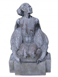 An early 20th century lead seated satyr holding a brace of geese