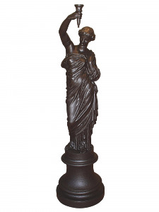 A 19th Century French cast iron female muse torchere
