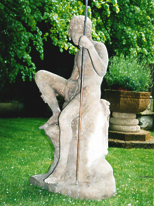 A fine life size statue in artificial stone depicting 'The Shepherd Boy' by Austin & Seeley