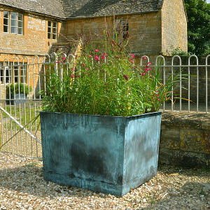 The Square Copper Garden Planter - Large