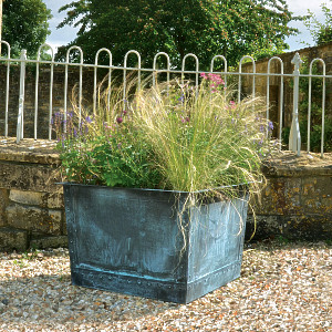The Square Copper Garden Planter - Medium