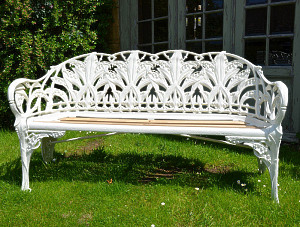 A Coalbrookdale Lily of the Valley cast iron seat, circa 1880