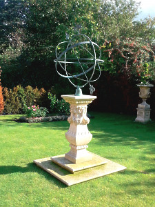 The Swagged Georgian Sundial Pedestal with Holborn Armillary Sphere with Griffin