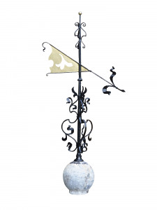 An early 19th century wrought iron and copper weather vane