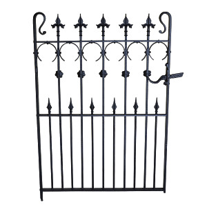 An early 20th century wrought and cast iron garden gate