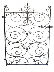 An early 19th century wrought iron garden gate