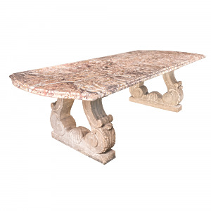 A 19th century, circa 1880, French Broccatellone marble table