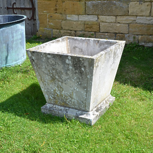 A single mid 20th century square stone planter of taper form