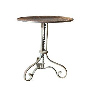 A French wrought iron circular garden table