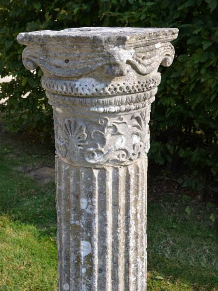 An early 19th century Bath stone column of fluted form