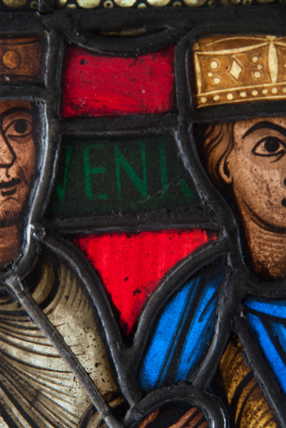 A stained glass panel depicting The Three Kings