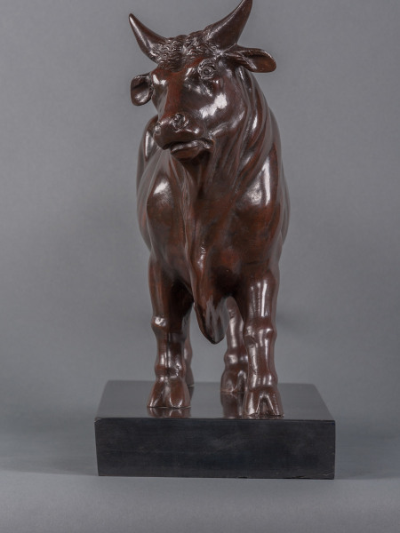 An  early 19th century Grand Tour lost wax cast bronze bull sculpture