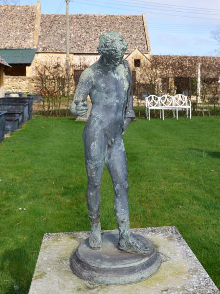 Verdigris weathered bronze model sculpture of Dionysus Greek God of Wine