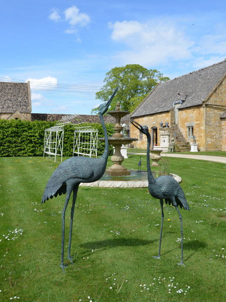 A pair of very large Japanese Meiji Period (1868 – 1912) bronze cranes