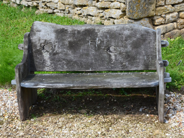 A small elm wood bench