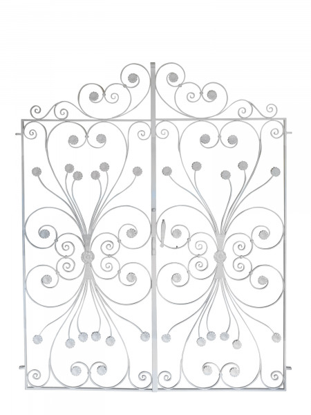 A pair of wrought iron garden gates