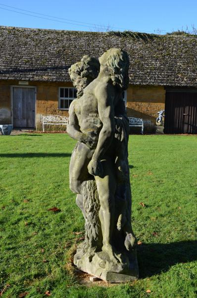 18th Century Sandstone Statue of Greek Hero Hercules Wrestling Antaeus