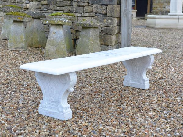 A White Marble Garden Bench
