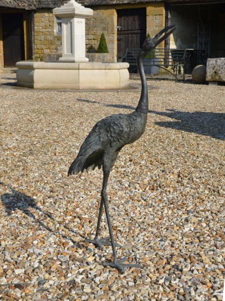 A single Japanese Meiji Period (1868 – 1912) bronze crane