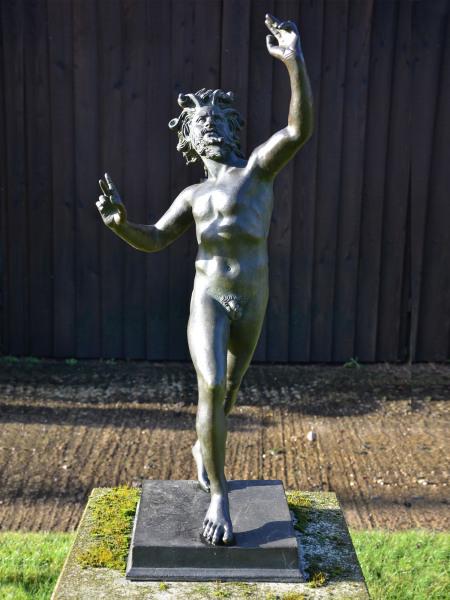 'The Dancing Faun' An early 20th century Neapolitan verdigris bronze