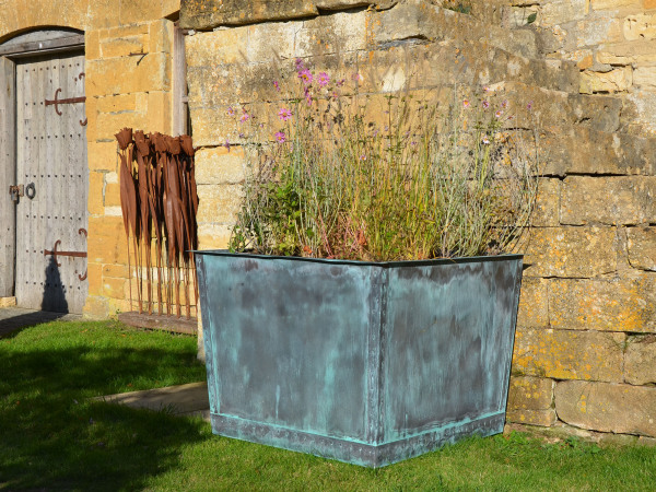 The Square Copper Garden Planter - Very Large