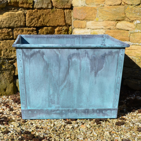 The Square Copper Garden Planter - Large - Rolled Edge
