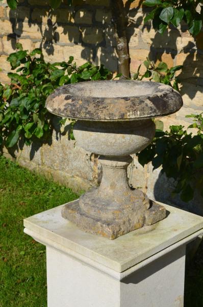 A pair of 19th century Bath stone tazza shaped urns