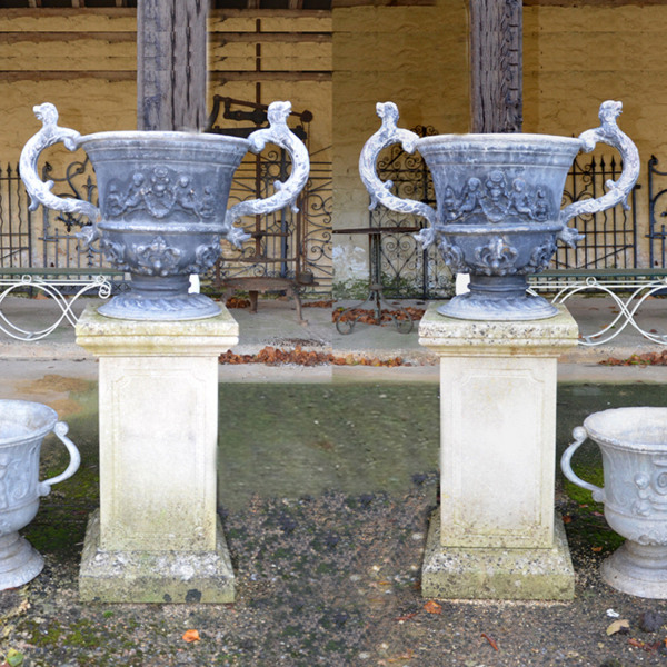 A pair of large late 19th century lead urns