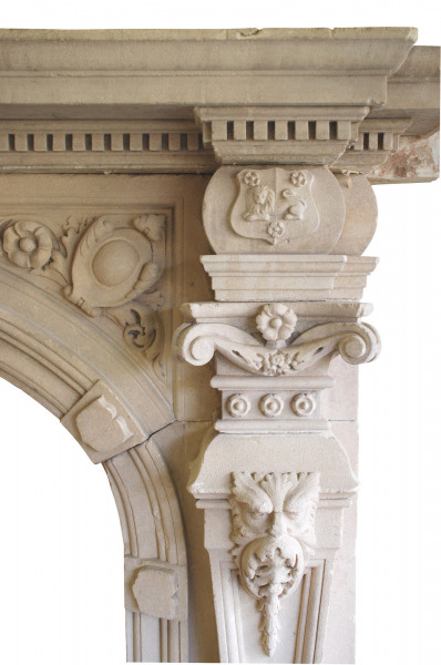 19th Century Natural Limestone Arch Fireplace with carved foliage roses