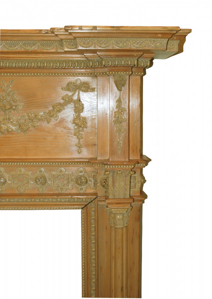 A George III pine and composite fire surround