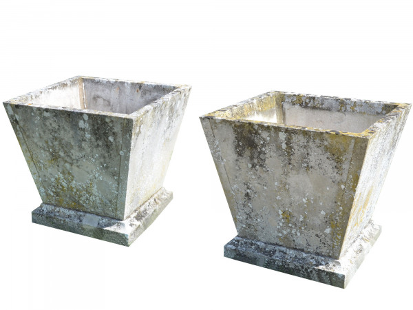 A pair of mid 20th century square stone planters of taper form