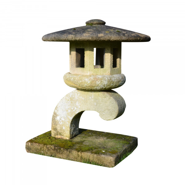 A carved Bath stone Japanese Toro or lamp