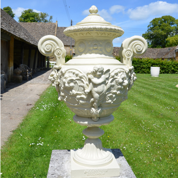 A decorative cast iron urn in the renaissance style
