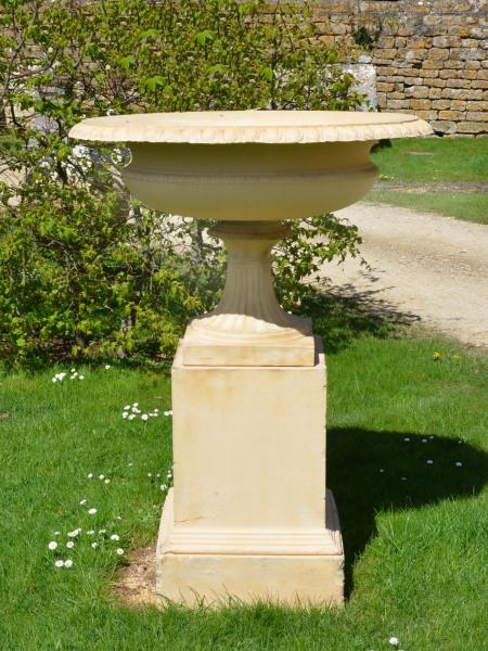 A large 19th century Victorian terracotta tazza urn by J.M. Blashfield