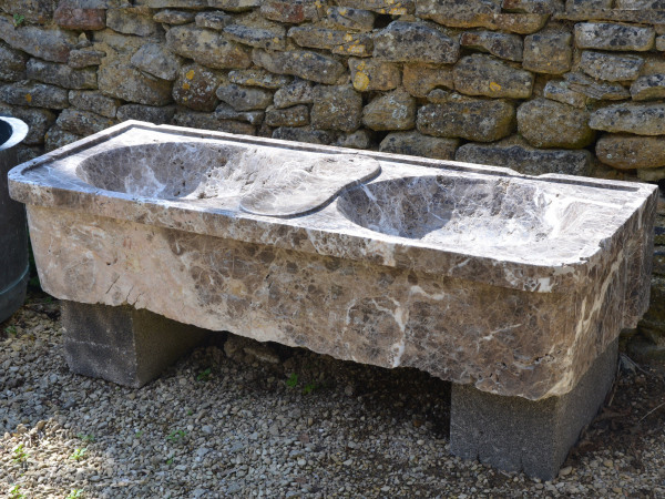 A 19th century French marble double sink