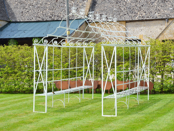 Wrought iron garden arbour